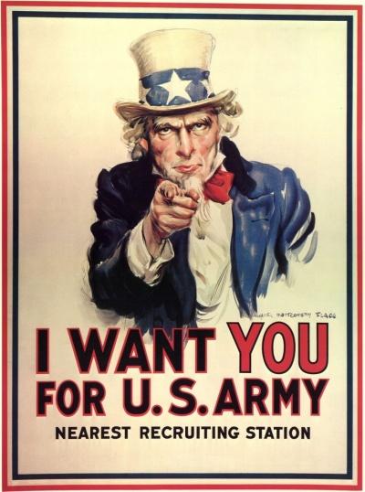 """""""Tôi muốn bạn cho quân đội Mỹ"""" (Áp phích quảng cáo chính trị Hoa Kì năm 1917)"""
