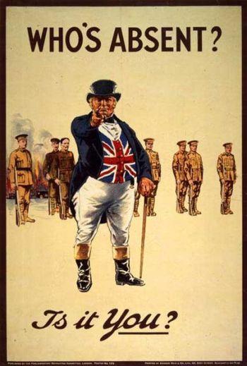"""Nước Anh Thế chiến I thêm một áp phích tuyển quân 1915. """"Ai đang vắng mặt? Có bạn?"""""""